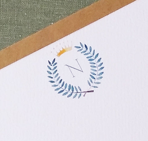 Crown and Wreath Elegant Monogram Watercolor, Small Flat Notes, set of 15