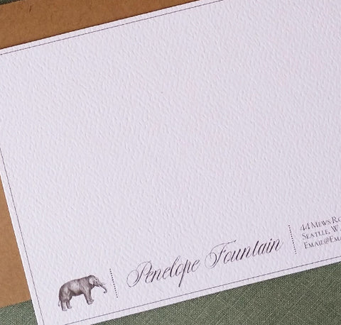 Elegant Antique Elephant Flat Notes, Set of 15, Personalized