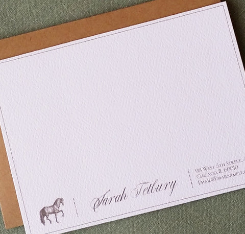 Elegant Antique Horse Flat Notes, Set of 15, Personalized