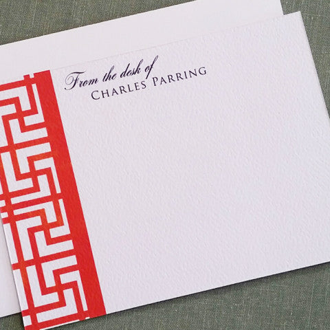Chinoiserie Pattern Frette Personalized Stationery in Red, Text options Set of 15