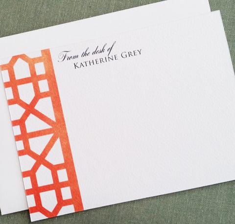 Chinoiserie Frette Pattern Personalized Stationery Orange, with Text options Set of 15