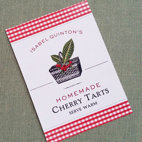 Cherry Canning Label, Cherry Jam, Tag, or Personalized Sticker, set of 18