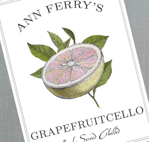 Grapefruit,Grapefruitcello, Labels or Tags with Vintage Illustration, set of 18