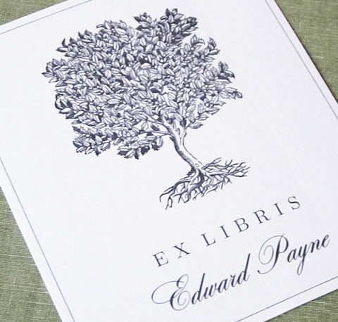 Classic Bookplate Vintage Grey Tree Illustration, set of 24.