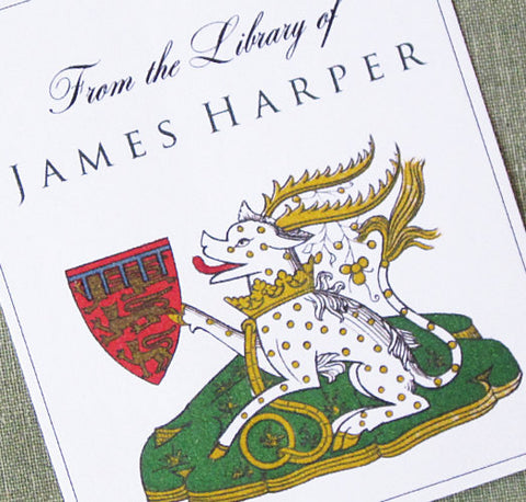 Heraldic Dog & Crest Medieval Personalized Bookplate (Set of 24)
