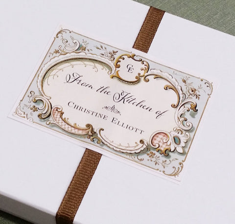 Personalized Vintage French Fancy Food Label or Tag with Monogram (Set of 18)