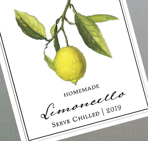 Labels for homemade Limoncello, Set of 18