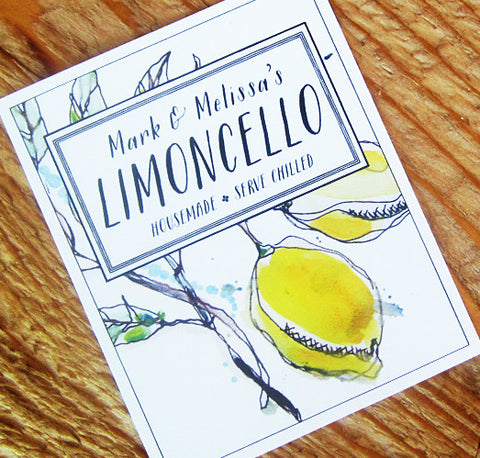Lemoncello or Limoncello Labels or Gift Tag, Set of 18