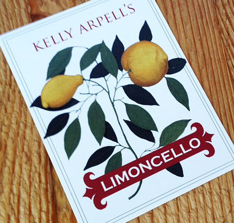 Personalized Limoncello or Lemon Labels or Tags with Yellow Botanical, set of 18