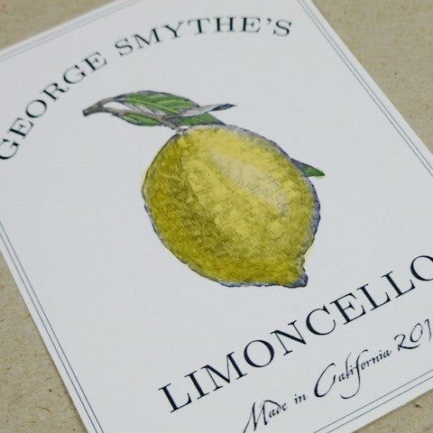 Traditional Lemoncello, Limoncello or Lemon Canning Labels or Tags with Antique Illustration (Set of 18)