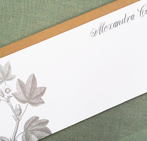 Woodcut Floral Flat Notes, 9.25x 4, Personalized, set of 12