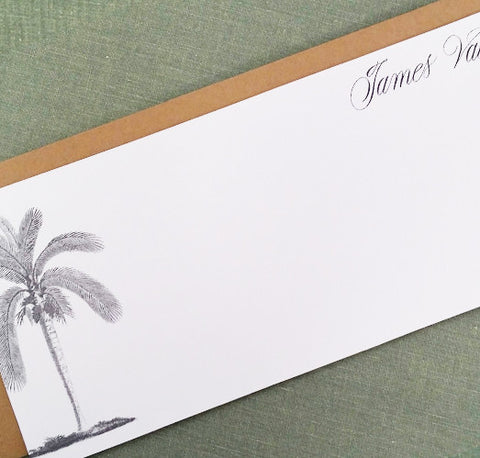 Palm Tree Flat Notes, 9.25x 4, Personalized, set of 12