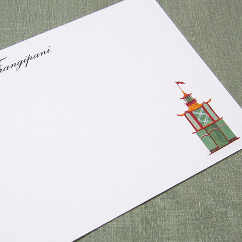 Personalized Chinoiserie Pagoda Small Flat Notes