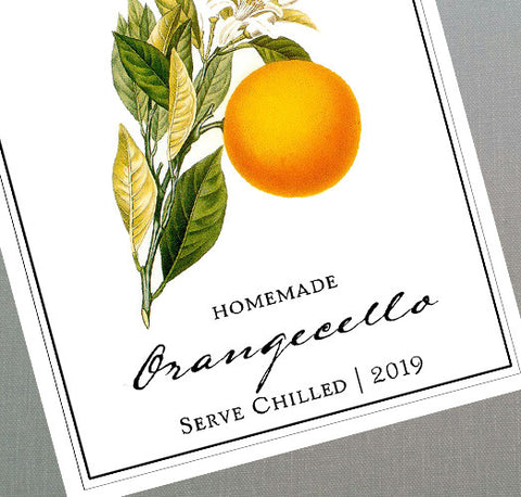 Orangecello Labels, Personalized Arancello Labels or Tags, Set of 18
