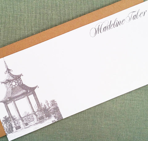 Chinoiserie Pagoda Flat Notes, 9.25x 4, Personalized, set of 12