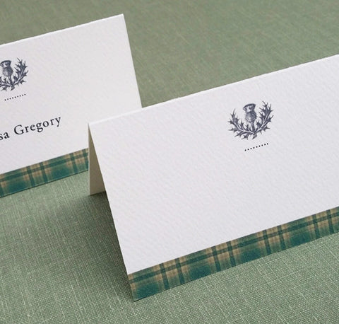 Green Tartan Plaid Place Cards with Thistle Motif, Set of 12