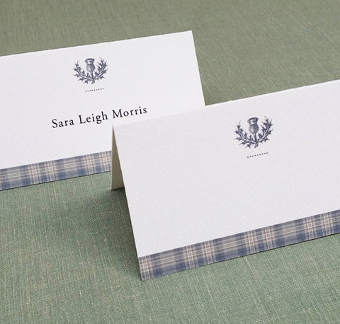 Grey Tartan Plaid Place Cards with Thistle Motif, Set of 12