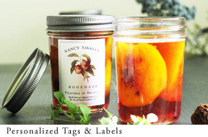 personalized labels and tags for jam,limoncello, and vanilla extract by nancy nikko
