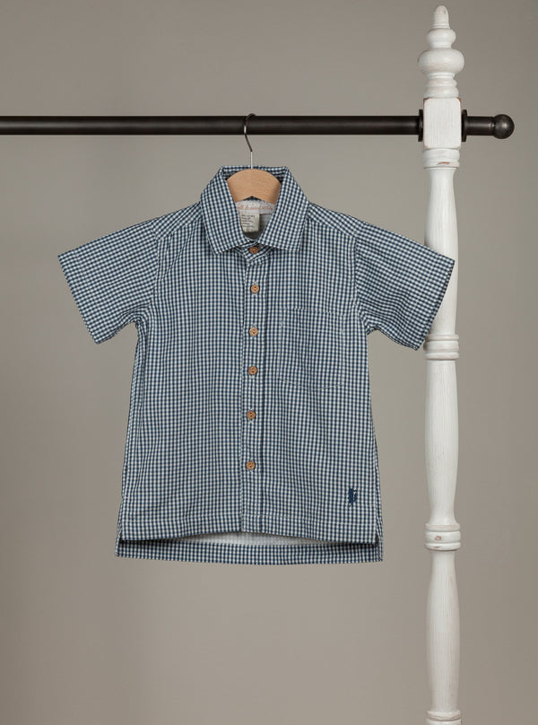 Vintage Navy Check Boy Shirt