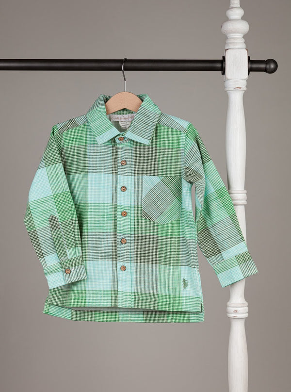 Boy Shirt // Green Plaid