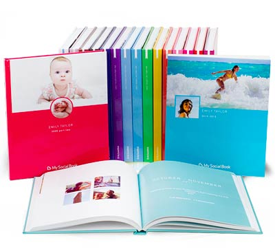 Collection of colorful photo albums
