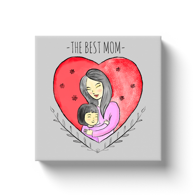 Hugging Mom in a Heart Canvas