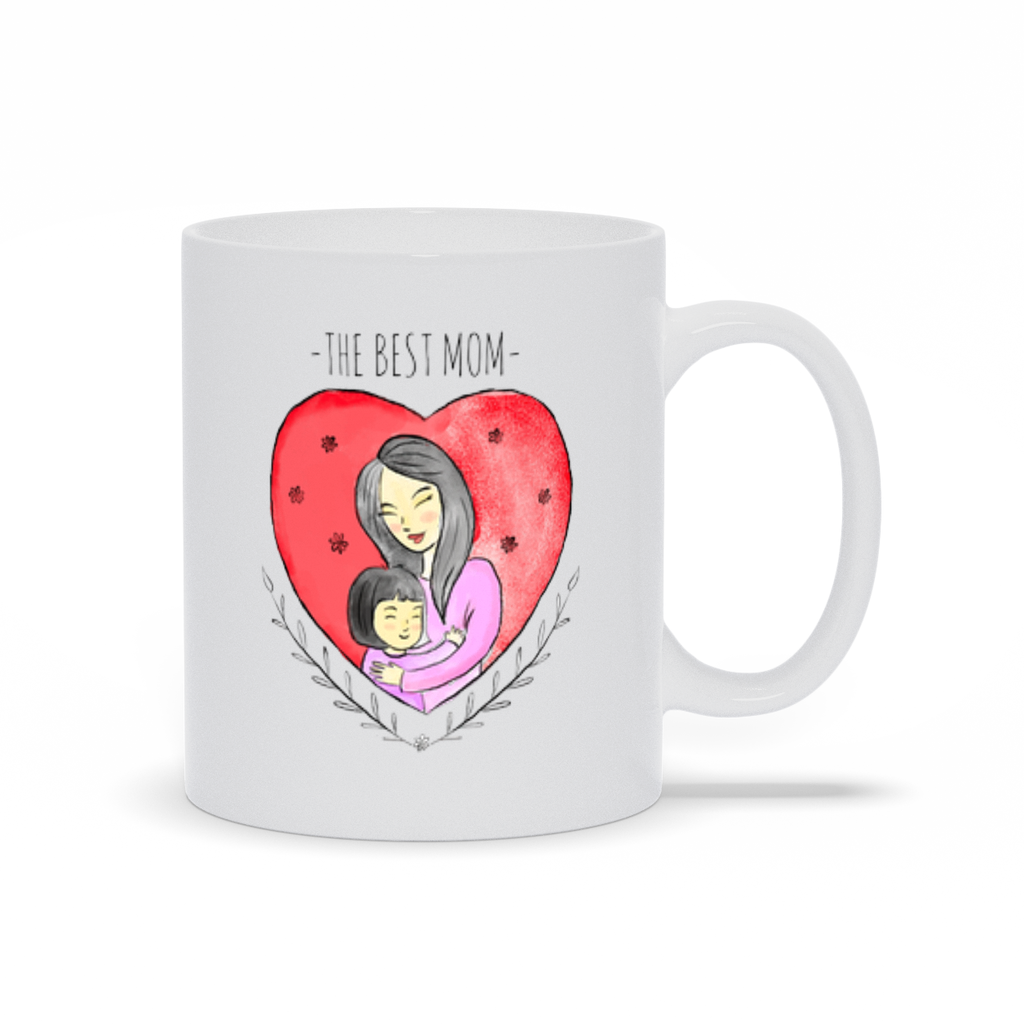 Hugging Mom in a Heart Mug