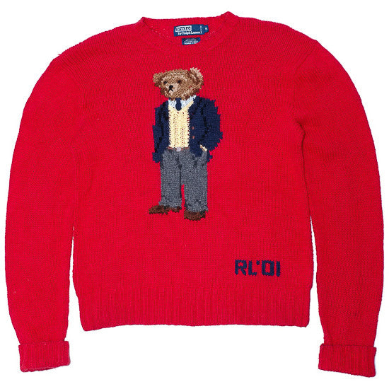 Ralph Lauren Polo Bear Red Hand Knit