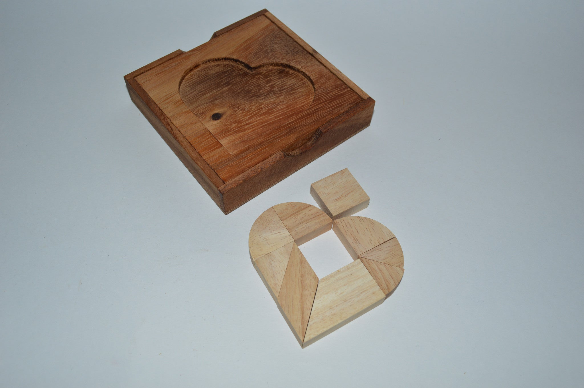 Broken Heart - Wooden Tangram Puzzle - Solve It! Think Out of the Box