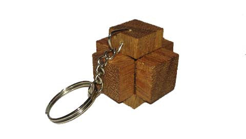 3 Pieces Burr Box Key chain- Brain Teaser Wooden Puzzle