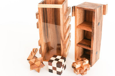 3 Burr Box - 4 Wooden Puzzles
