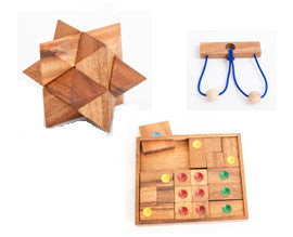 Wooden Star Puzzle + Towards Freedom 2 + The Gordian Knot
