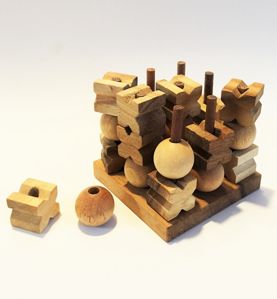3D Tic Tac Toe (Medium) - Strategy Wooden Game