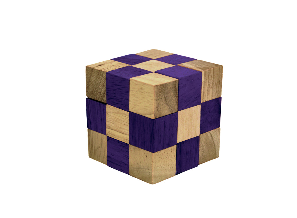 Snake Cube (purple) - Wooden Puzzle