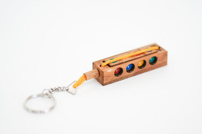 Crazy Four Keychain - Brain Teaser Wooden Puzzle