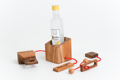 Mini Wine Puzzle - Brain Teaser Wooden String Puzzle