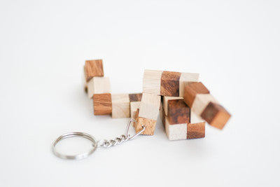 Snake Cube Keychain - Wooden Puzzle
