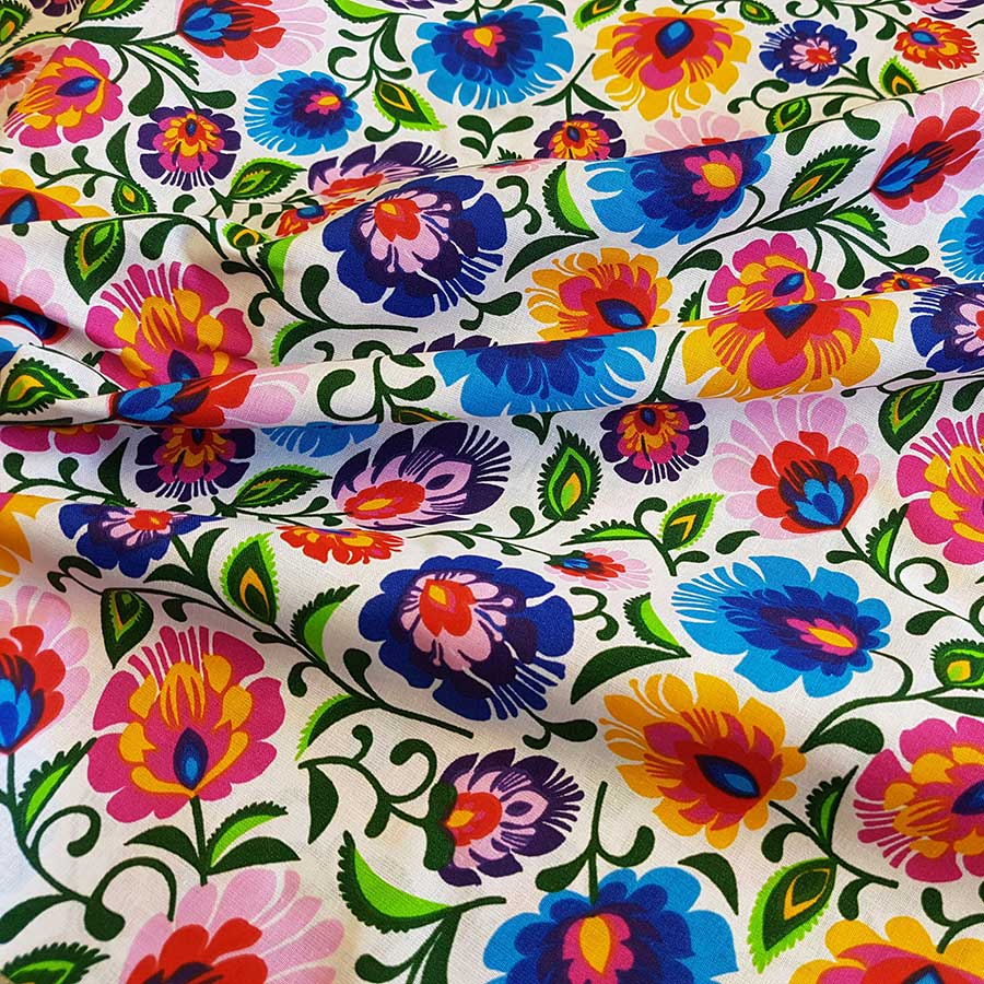 White Floral Cotton, sold by half metre
