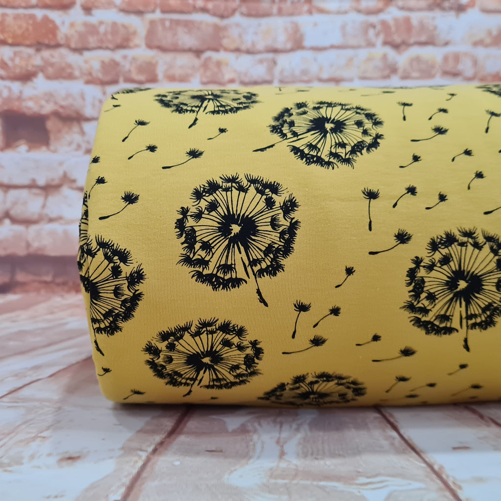 Dandelions Mustard French Terry, priced by half metre