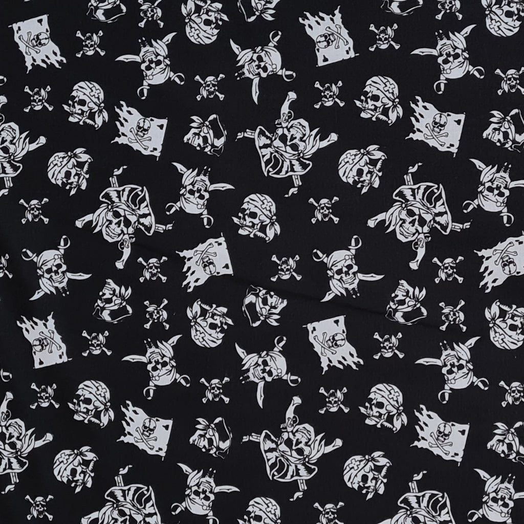 Pirates Black Cotton, sold by half metre
