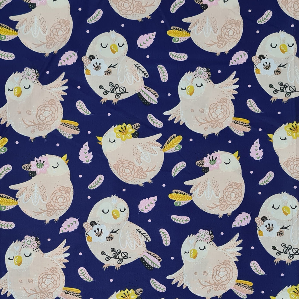 Little Birdie Navy Cotton, sold by half metre