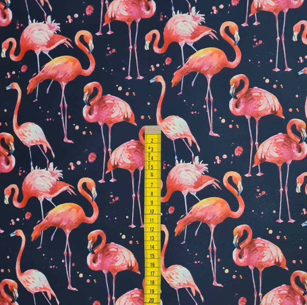 Flamingos Navy Waterproof Fabric, sold by half metre