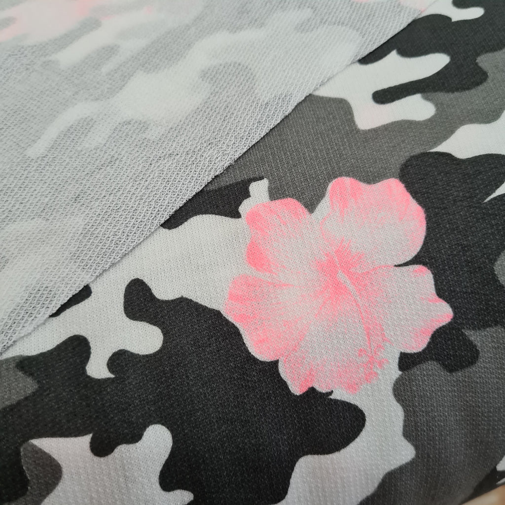 Floral Camouflage Textured French Terry Jersey, priced  by half metre