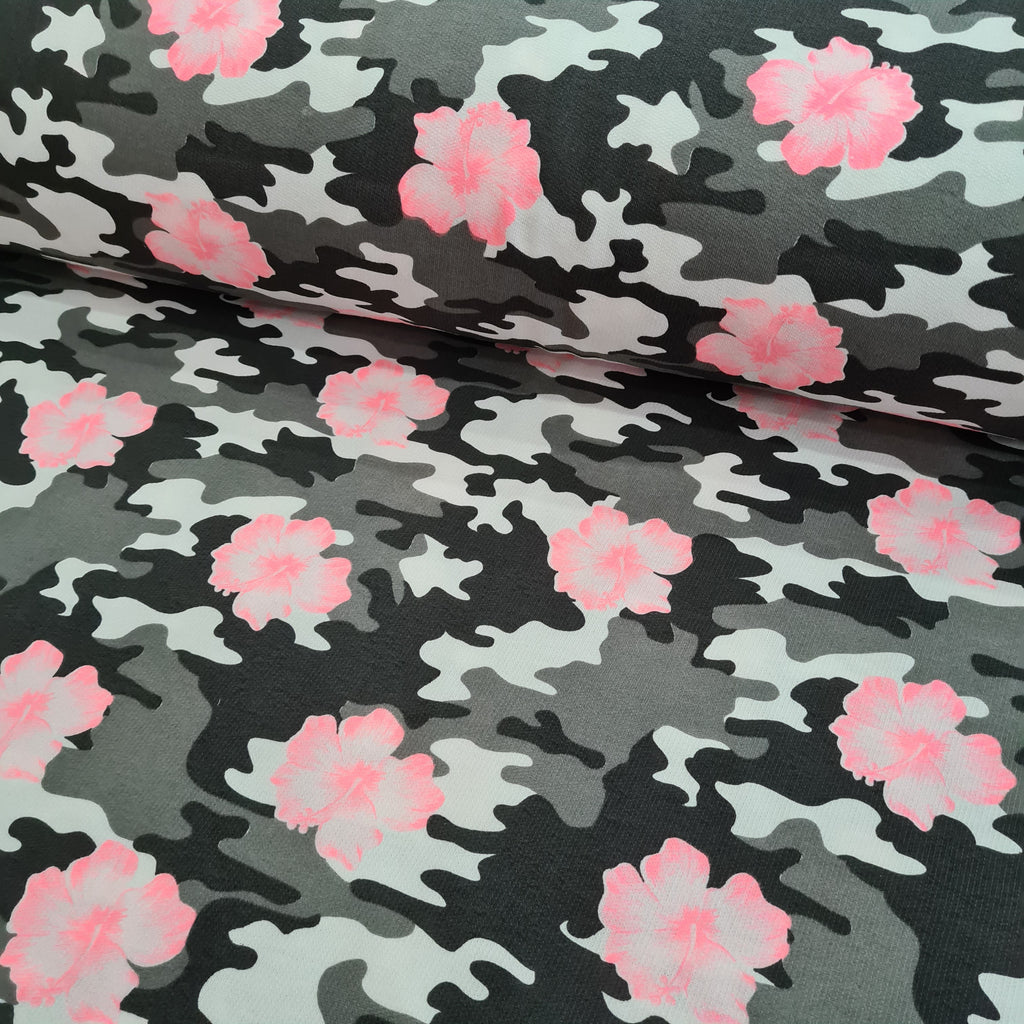 Floral Camouflage Textured French Terry Jersey, sold by half metre