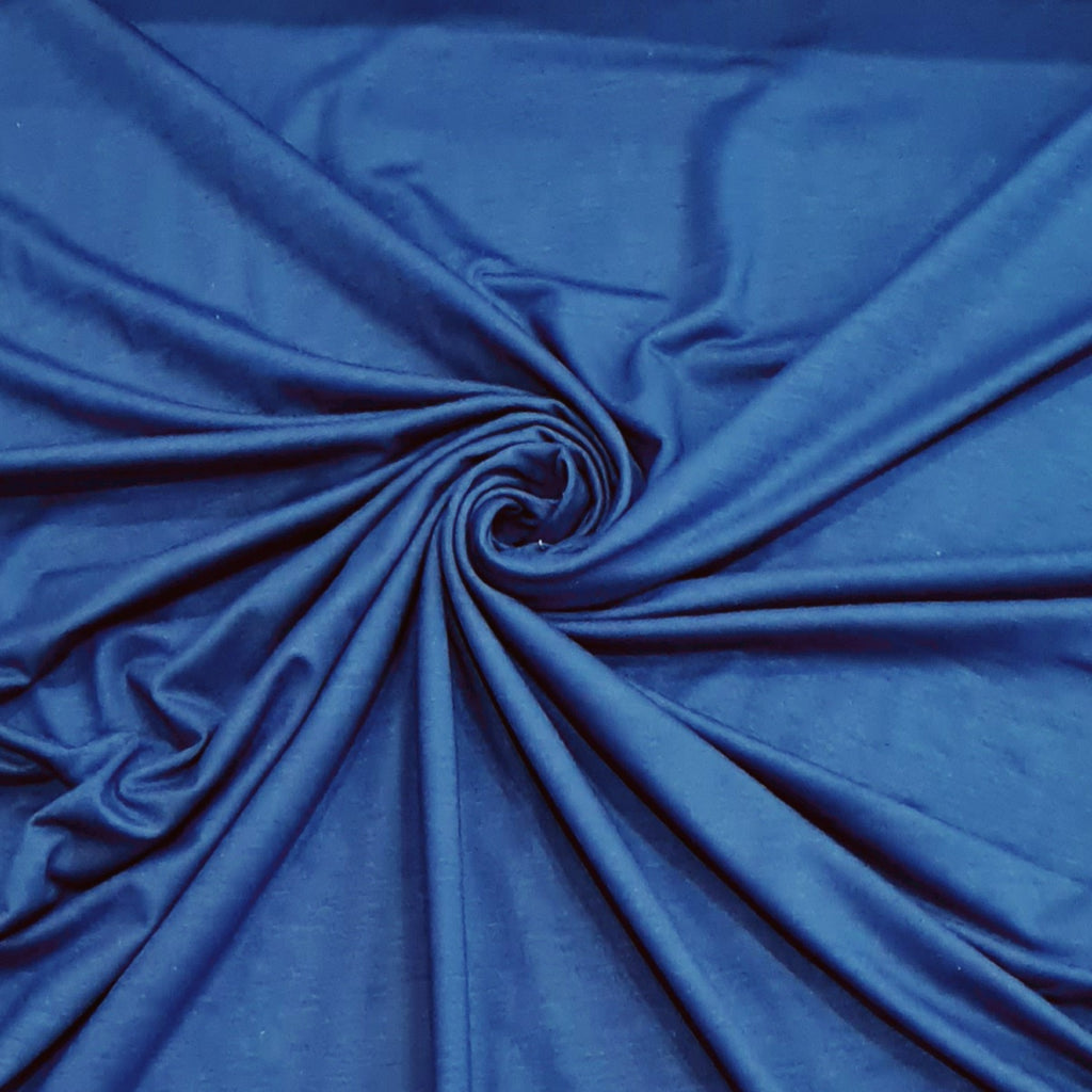 Petrol Blue Viscose Jersey, sold by half metre