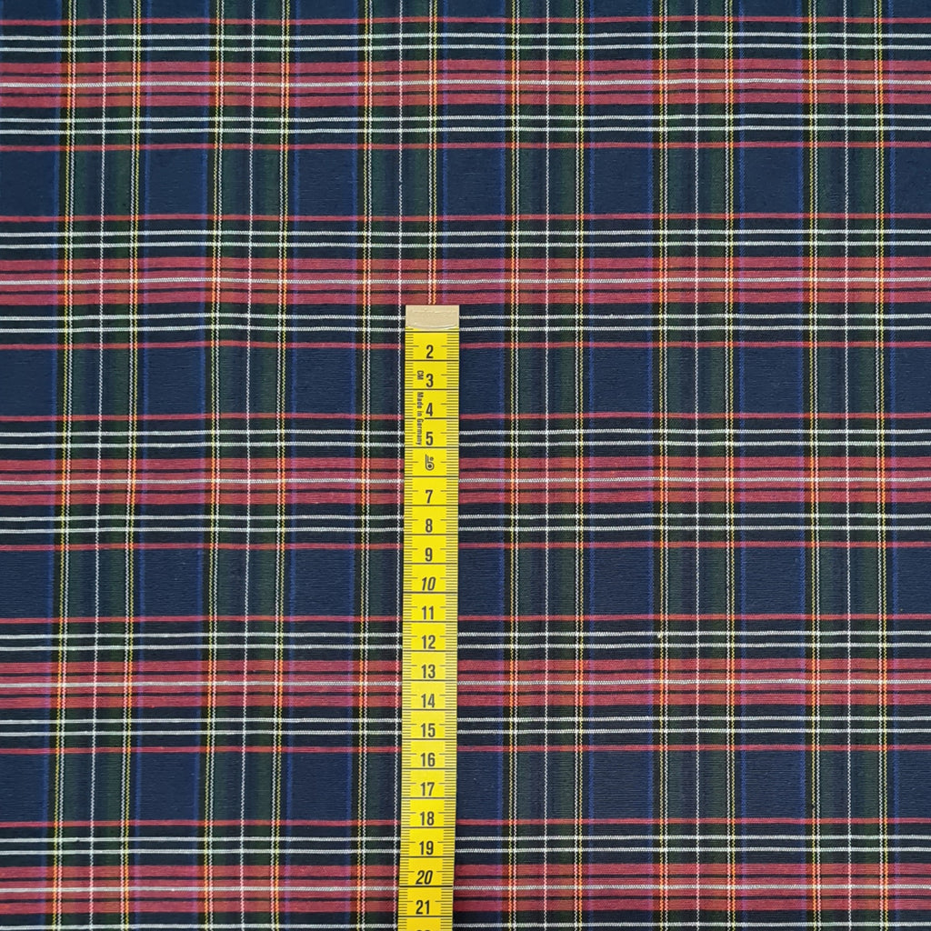 Navy Tartan Linen Look Decor Fabric, sold by half metre