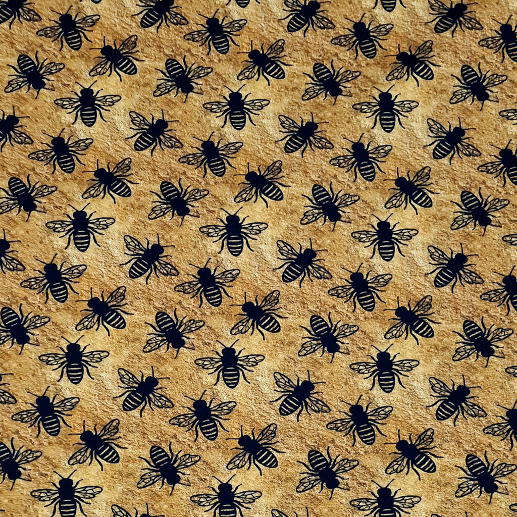 Gold Bees Single Jersey, priced by half metre