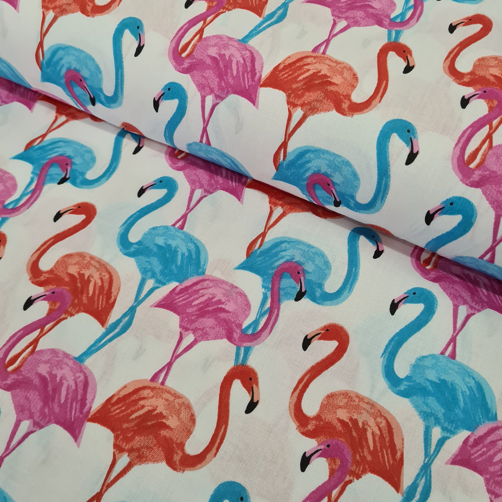 Flamingos White Cotton, priced by half metre