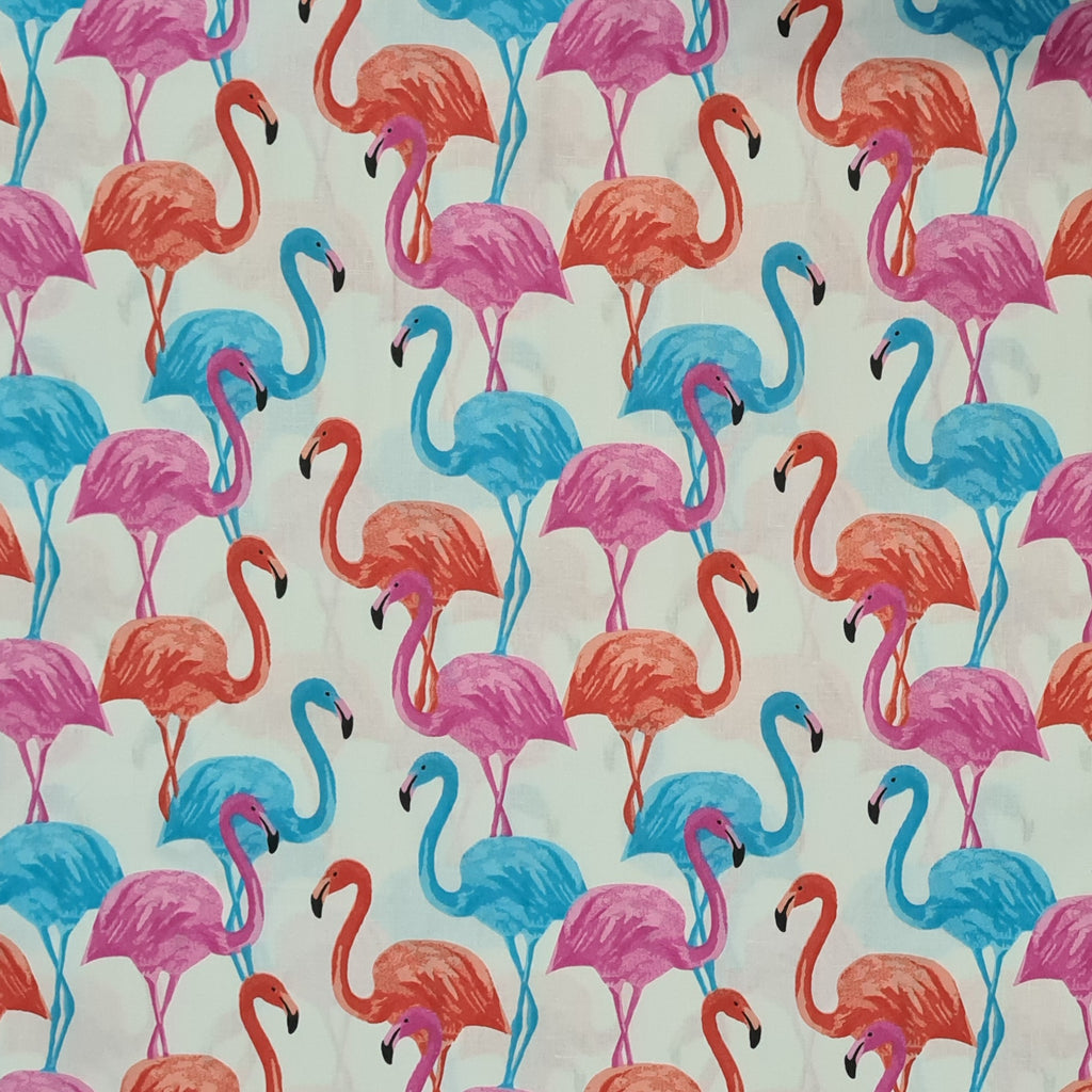 Flamingos White Cotton, sold by half metre