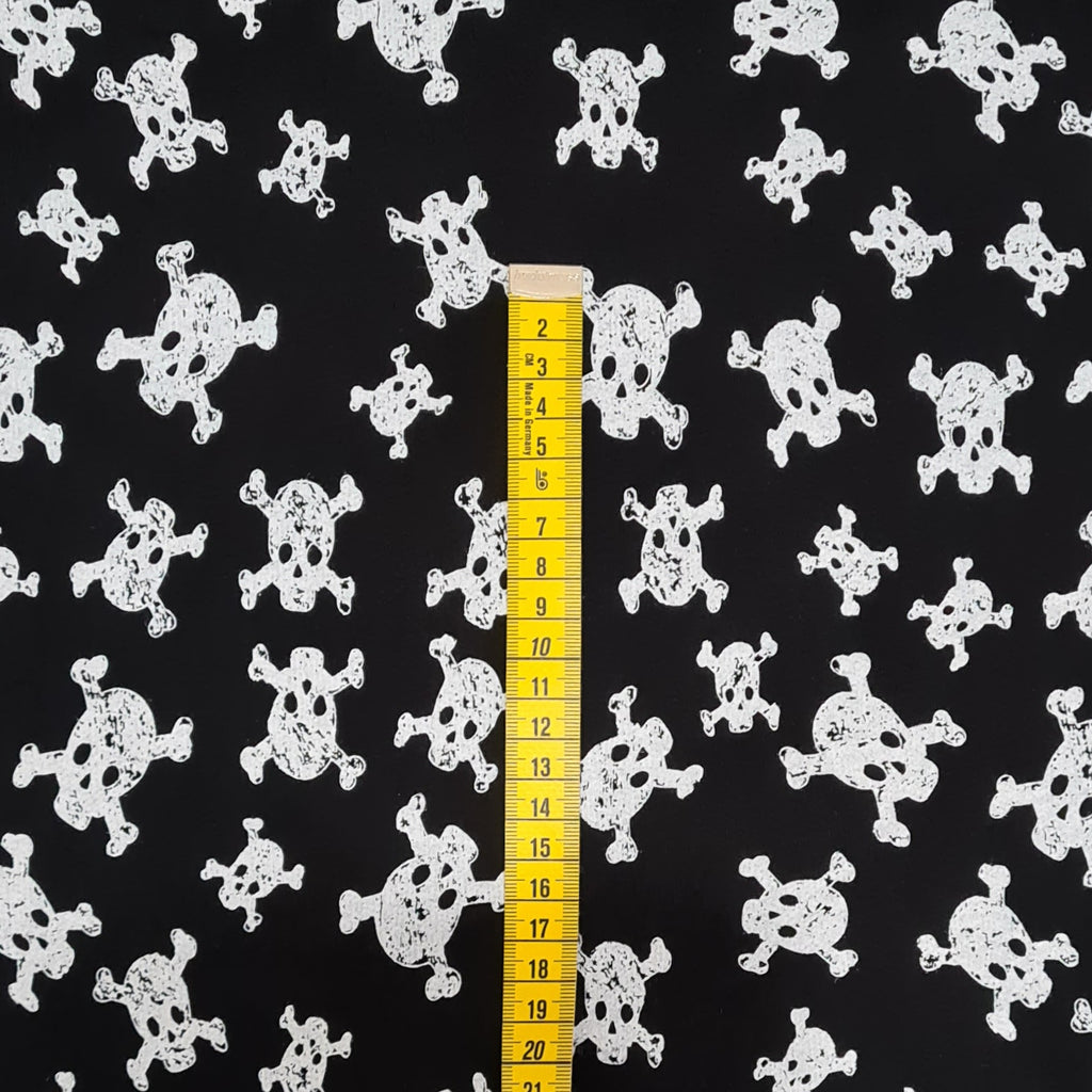 Skulls Black French Terry Jersey, sold by half metre